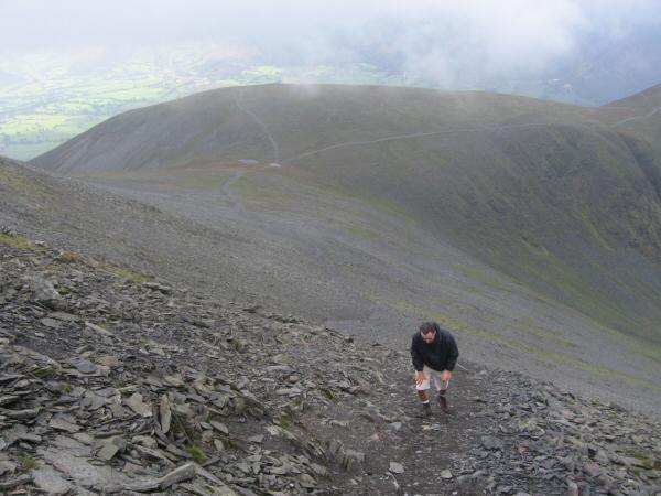 Ascending Skiddaw with Carl Side below
