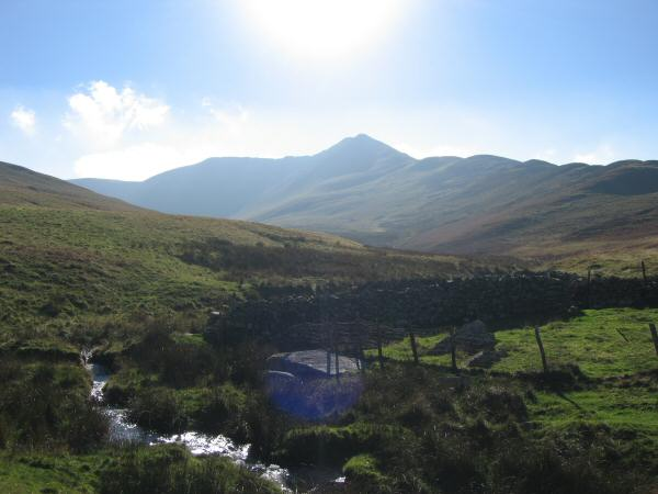 Looking south to Ullock Pike from the bridge (marked as a ford on the map) across Southerndale Beck