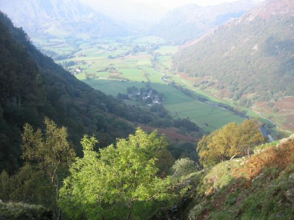 Looking down on the hamlet of Stonethwaite