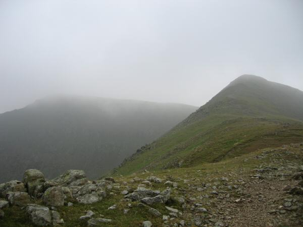 Looking back to Helvellyn (in cloud) on the left and Lower Man on the right