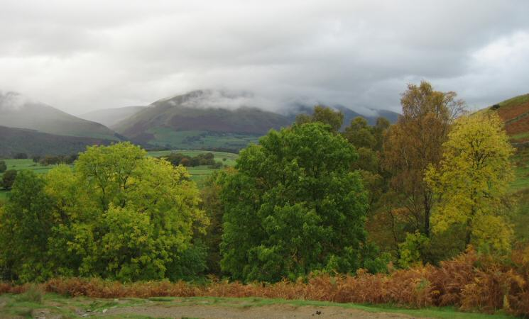 Blencathra in cloud from above Rakefoot