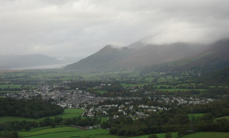 Looking down on Keswick from Walla Crag