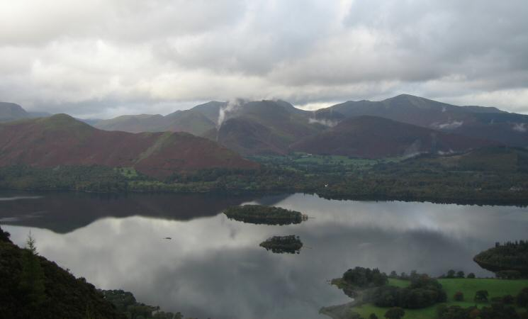 Looking across Derwent Water to the north western fells