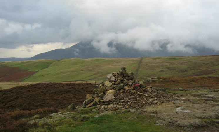 Walla Crag summit cairn with Clough Head somewhere in the cloud