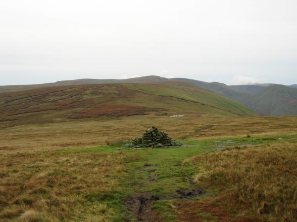 The view south from all that remains of Lowther House. The highest point on the skyline is High Raise.