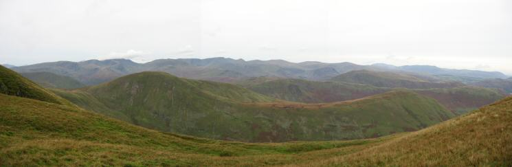 Rest Dodd and The Nab with Fairfield, the Helvellyn range, Skiddaw and Blencathra on the skyline