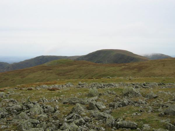 Kidsty Pike (not looking like a pike from this angle) with Mardale Ill Bell and High Street behind from High Raise's summit