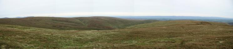 Red Crag, Keasgill Sike, High Kop (Wether Hill) and Long Grain with the quad bike tracks I followed to Measand End