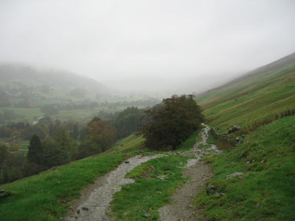 Looking up the Troutbeck valley from above Limefitt Park