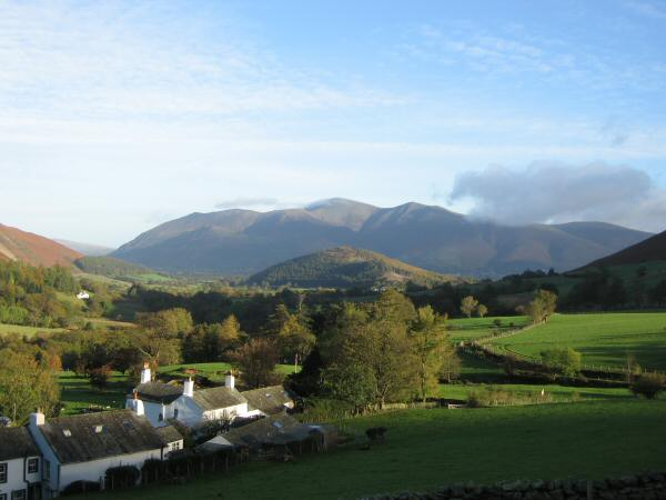 Swinside with the Skiddaw fells behind from near Little Town