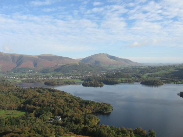 Looking over Derwent Water to Blencathra from our ascent of Catbells