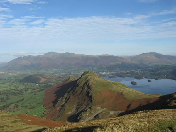 Looking back to Catbells from the path up Maiden Moor