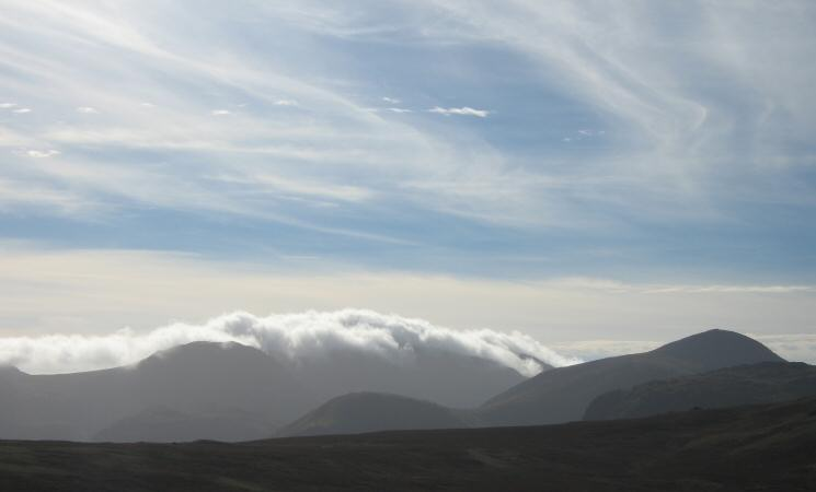 Clouds hugging the Scafells but Great Gable (right) is clear