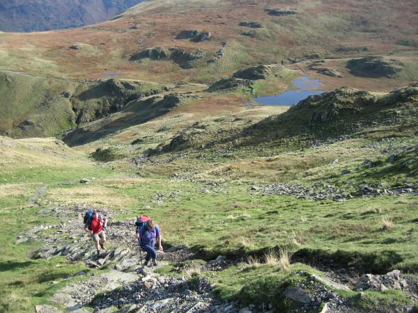 The steep pitched path up Dale Head from Dalehead Tarn