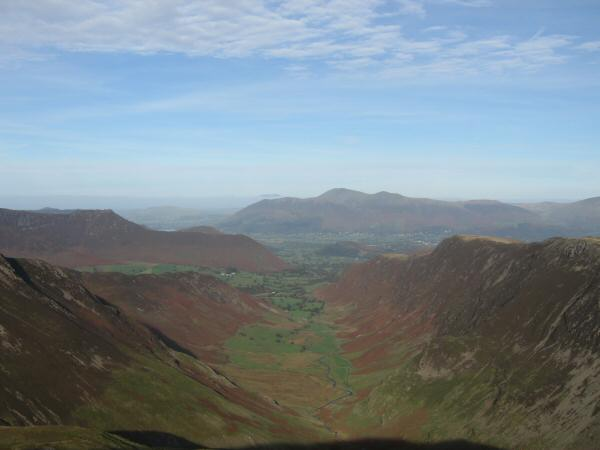 Looking down the Newlands valley to Skiddaw from Dale Head's summit