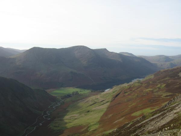 The Buttermere valley with the High Stile ridge in shadow from Hindscarth Edge
