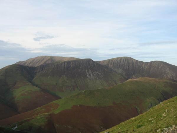 The ridge onto Knott Rigg from Newlands Hause with Grasmoor, Wandope, Eel Crag and Sail behind