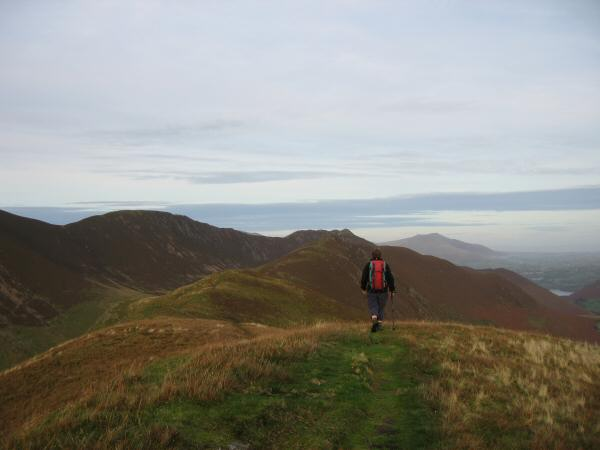 Leaving Knott Rigg's summit, heading for Ard Crags our last top of the day