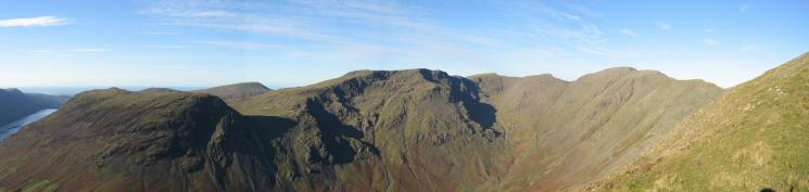 Yewbarrow, Seatallan in the distance, Red Pike, Scoat Fell, Black Crag and Pillar