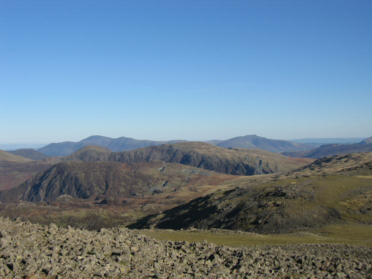 Fleetwith Pike with Hindscarth and Dale Head behind and Skiddaw and Blencathra on the skyline
