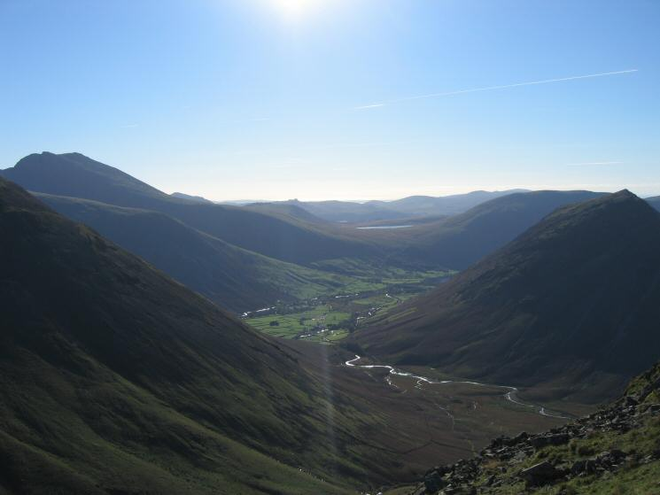 Mosedale and Wasdale Head from Pillar with Scafell on the far left and Yewbarrow on the far right