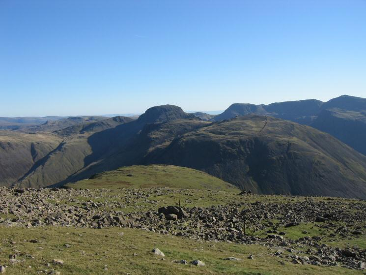 Looking back along our line of ascent to Kirk Fell with Great Gable, Great End, Broad Crag and Scafell Pike on the skyline