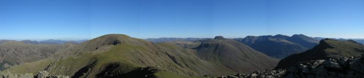Pillar, Kirk Fell (with the top of Great Gable behind), the Scafells and Red Pike from Scoat Fell