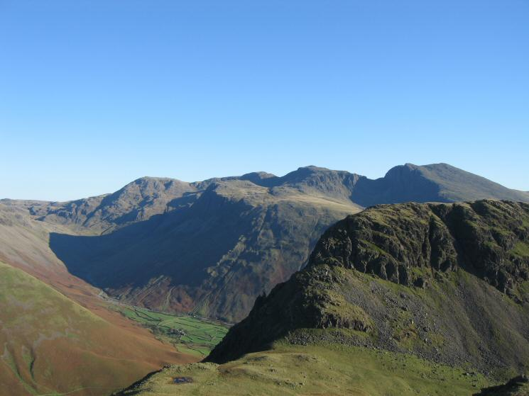 Dore Head and Stirrup Crag (Yewbarrow) with the Scafells behind from our descent off Red Pike