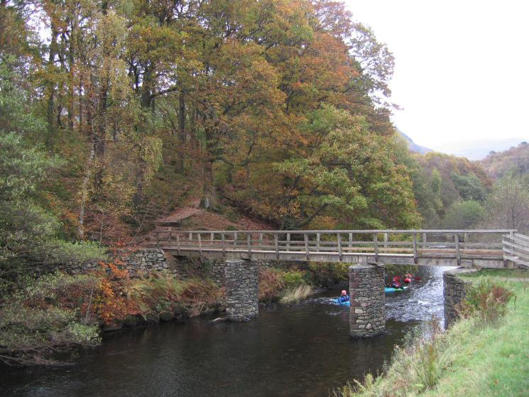 The footbridge across the River Rothay near Grasmere's weir