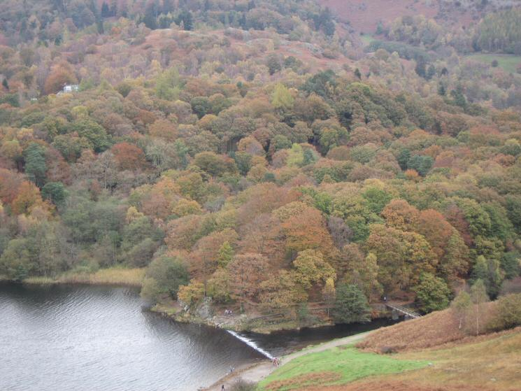 Grasmere's weir and Baneriggs from the end of Loughrigg Terrace