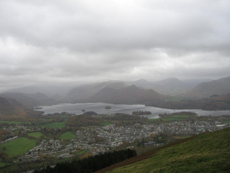 Keswick and Derwent Water from Latrigg's summit