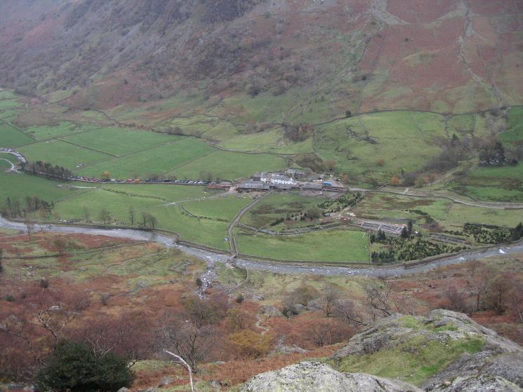 Looking back down on Seathwaite from our ascent by Sourmilk Gill