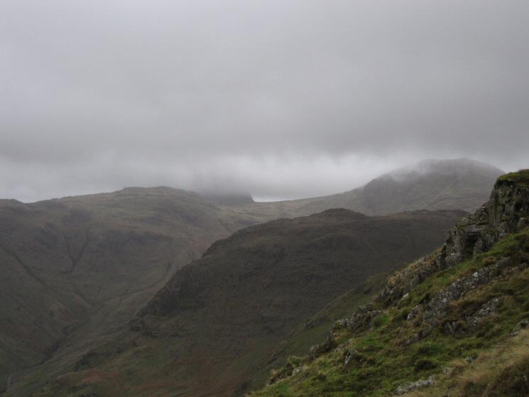 Looking across to Seathwaite Fell with Esk Pike in cloud behind Allen Crags and Great End on the far right
