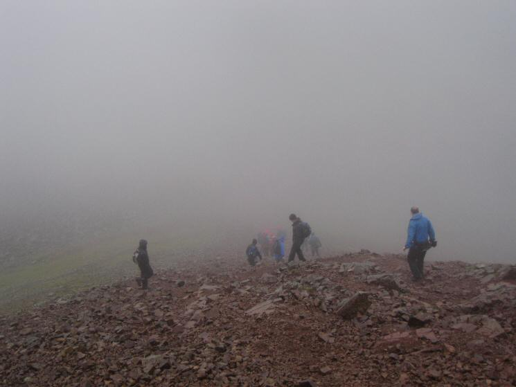 Walkers descending to Windy Gap from Green Gable
