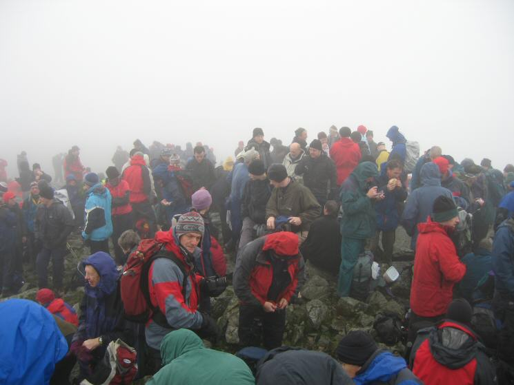 Walkers waiting for 11am and the start of the Remembrance Service at Great Gable's summit