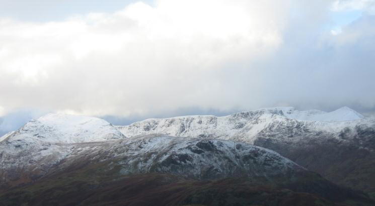St Sunday Crag on the left, Nethermost Pike, Helvellyn and Catstycam
