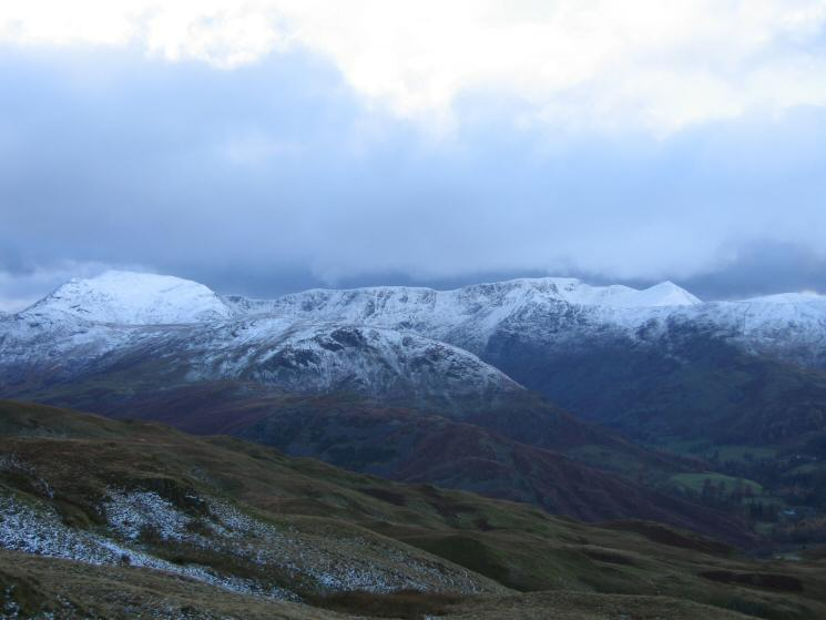 St Sunday Crag on the left, Nethermost Pike behind Birks, Helvellyn and Catstycam