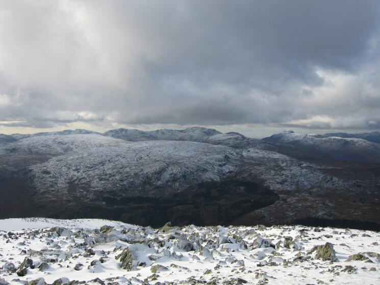 Looking over the central fells to Bowfell, the Scafells and Great Gable