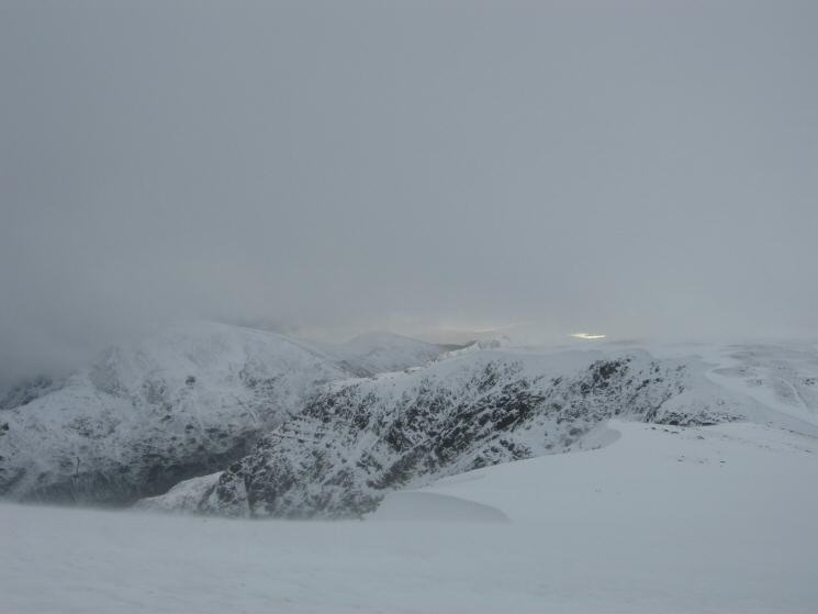 The view south towards Nethermost Pike through the spindrift