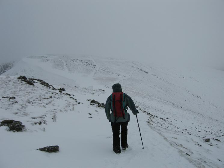 Heading for the col between Helvellyn and Nethermost Pike