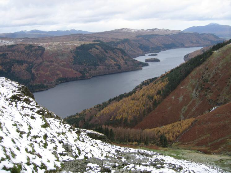 Looking down on Thirlmere from our descent to Wythburn
