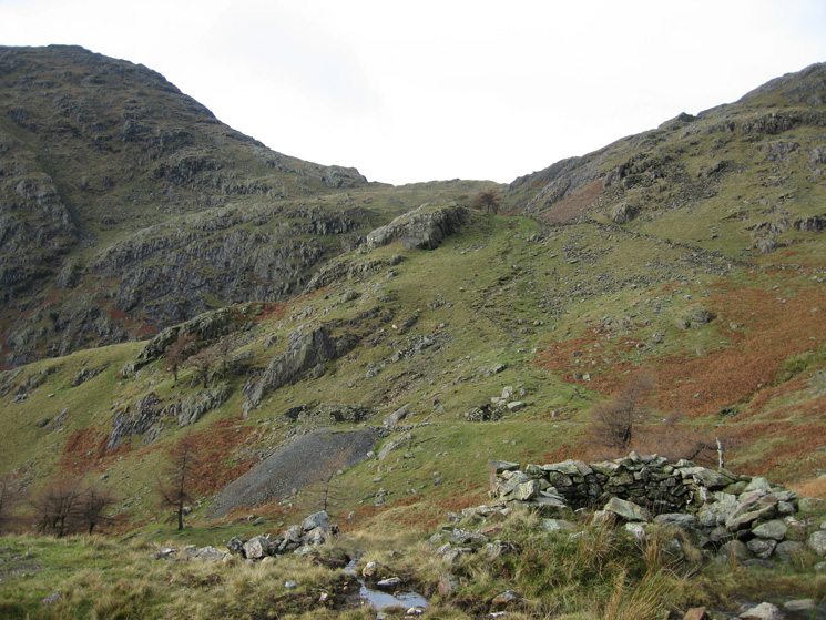 The path up to Birk Fell Hawse with Wetherlam Edge on the left