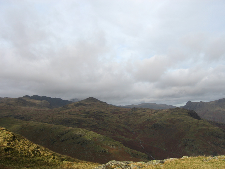 Pike O' Blisco with Crinkle Crags on the left and the Langdale Pikes on the right