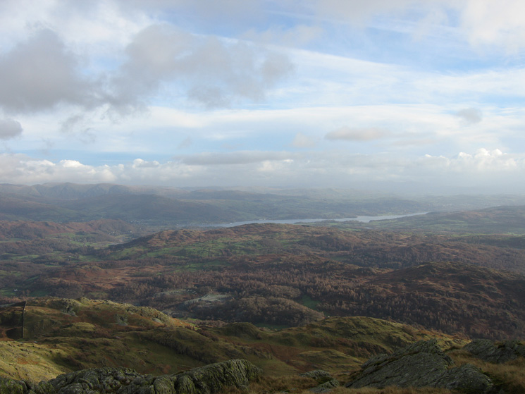 Looking over Hodge Close and Black Crag to Windermere