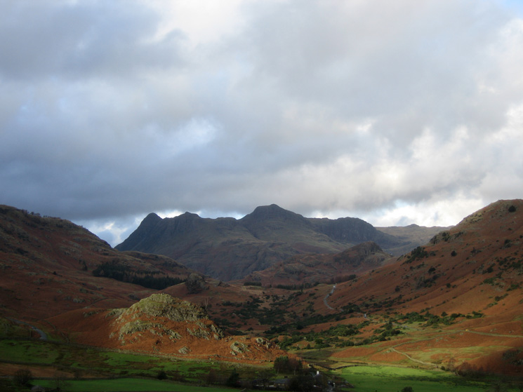The Langdale Pikes seen through the Blea Tarn gap