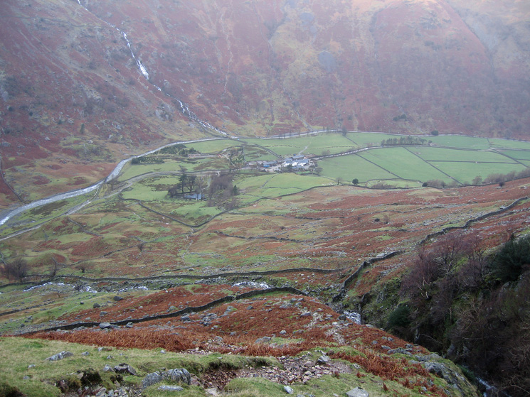 Looking back down on Seathwaite from our ascent by Hind Gill