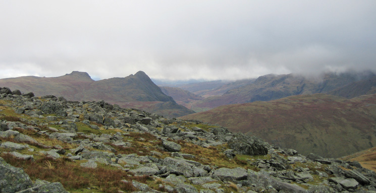 The Langdale Pikes from the ridge to Allen Crags