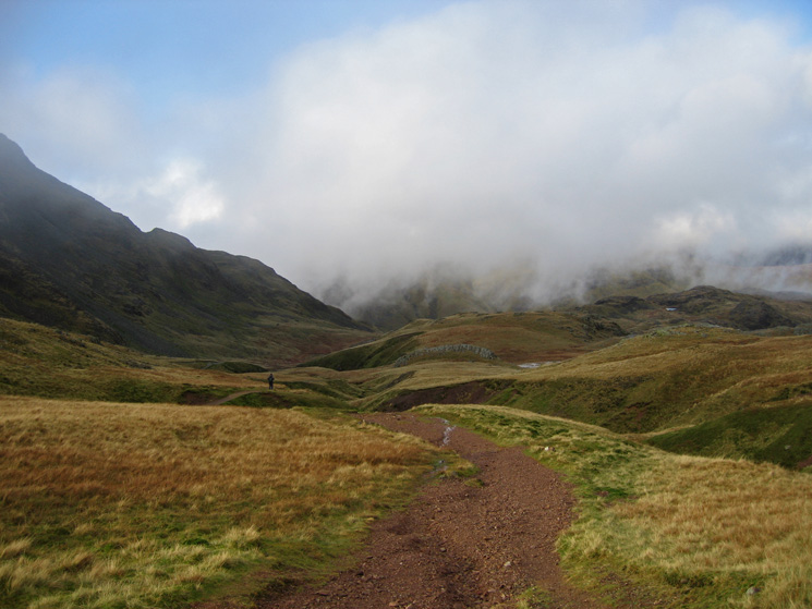 The path from Lower Esk Hause towards Sprinkling Tarn