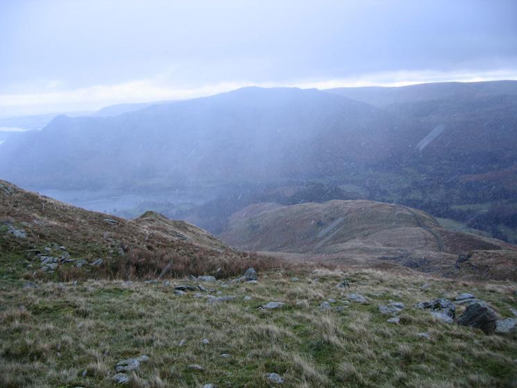 Looking back down Birkhouse Moor's east ridge