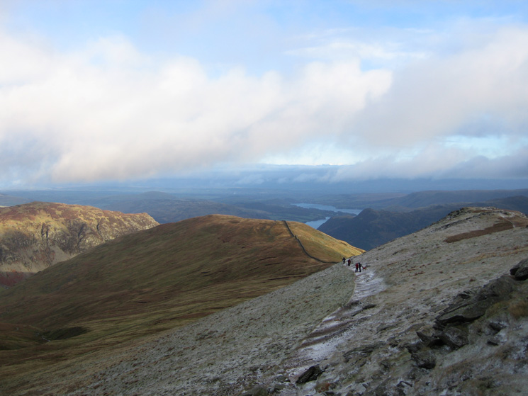 Looking back to Birkhouse Moor with Sheffield Pike on the left and Ullswater beyond